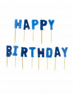 Geburtstagskerzen Happy Birthday Buchstabenkerzen 13-teilig blau
