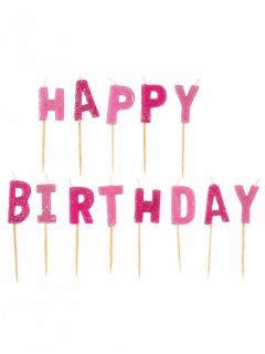 Geburtstagskerzen Happy Birthday Buchstabenkerzen 13-teilig pink