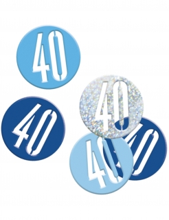 Geburtstags-Konfetti Jubiläumsdeko 40 Jahre blau-hellblau-silber 14g