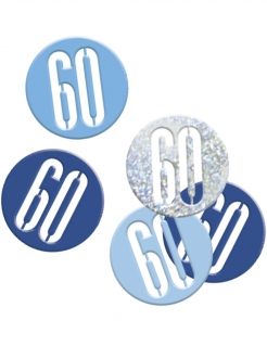 Geburtstags-Konfetti Jubiläumsdeko 60 Jahre blau-hellblau-silber 14g