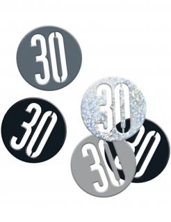 Geburtstags-Konfetti Jubiläumsdeko 30 Jahre schwarz-silber 14g