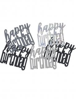 Geburtstags-Konfetti Happy Birthday schwarz-silber 14g