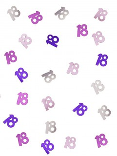 Geburtstags-Konfetti Jubiläumsdeko 18 Jahre rosa-lila-silber 14g