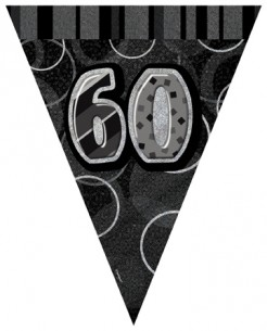 Geburtstag-Girlande Wimpelgirlande 60 Jahre schwarz-grau 360x30cm