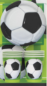 Fussball-Geschirr-Set mit Tischdecke 25-teilig grün-schwarz-weiss