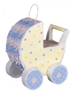 Kinderwagen-Piñata 1. Kindergeburtstag Partydeko bunt