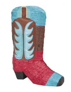 Cowboy-Stiefel-Piñata Partydeko rot-blau