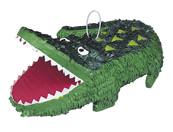 Krokodil-Piñata Kindergeburtstags-Partydeko grün-weiss