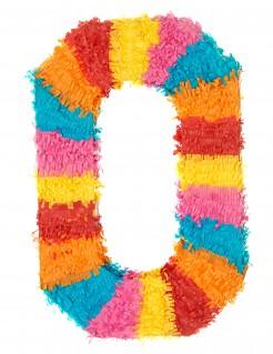 Piñata Zahl 0 Partydeko bunt