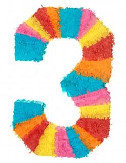 Piñata Zahl 3 Partydeko bunt