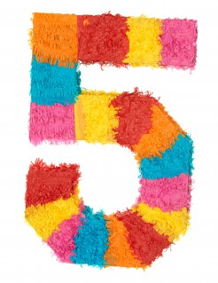 Piñata Zahl 5 Partydeko bunt