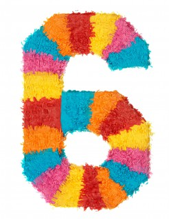 Piñata Zahl 6 Partydeko bunt