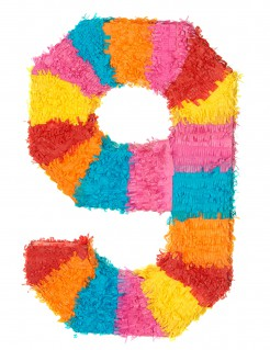 Piñata Zahl 9 Partydeko bunt