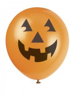 Halloween Kürbis-Luftballons 6 Stück orange-schwarz