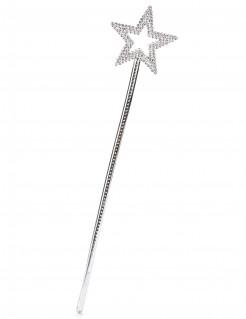 Glitzernder Feen-Zauberstab mit Stern Feenstab silber