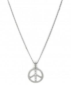 70er Halskette Peace-Zeichen Strass Hippie silber
