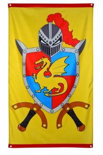 Mittelalter Fahne Party-Deko gelb-bunt 150x90cm