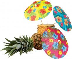 Hawaii Cocktail-Schirmchen Party-Deko 6 Stück bunt 18cm