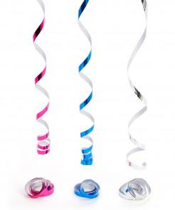 Metallic-Luftschlangen Party-Deko 3-teilig silber-blau-pink 4m