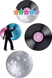 Disco Schilder Party-Deko Schallplatten und Discokugeln 4 Stück bunt 28x28cm