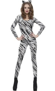 Sexy Zebra Damenkostüm Catsuit weiss-schwarz