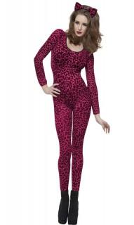 Leoparden-Einteiler für Frauen pink-rot-schwarz