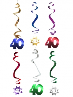 Hängespiralen Geburtstagsdeko Jubiläum Zahl 40 6 Stück bunt 61cm