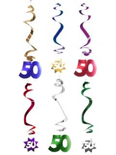 50. Geburtstag Dekospiralen Party-Deko 6 Stück bunt 61cm