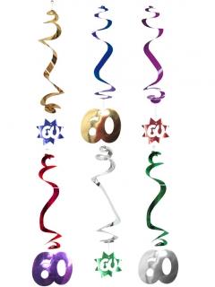 Hängespiralen Geburtstagsdeko Jubiläum Zahl 60 6 Stück bunt 61cm