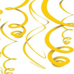 Spiralen-Hängedekoration Party-Deko 12 Stück gelb 56cm