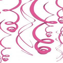 Spiralen-Hängedekoration Party-Deko 12 Stück pink 56cm