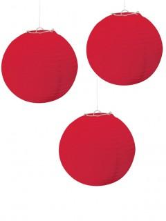 Laternen Party-Deko 3 Stück rot 24cm