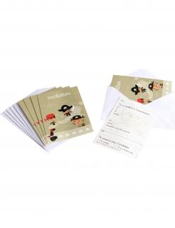 6 Einladungskarten Pirat mit Umschlägen