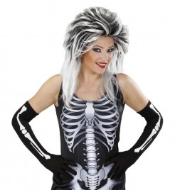 Lange Skelett-Handschuhe für Halloween schwarz-weiss 53 cm lang