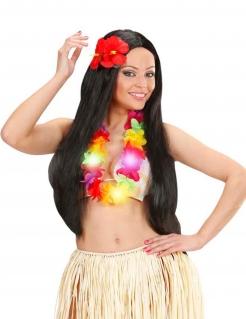 Leuchtende Hawaii Blumenkette Halskette weiss-bunt
