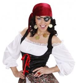 Piratin Schmuck-Set Halskette und Ohrringe 3-teilig gold