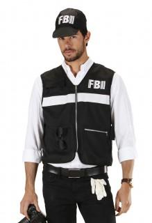FBI Polizist Kostüm-Set Weste und Kappe übergrösse schwarz-weiss