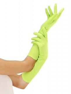 Damenhandschuhe lang Kostümaccessoire neongrün