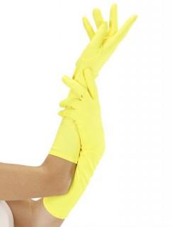 Damenhandschuhe lang Kostümaccessoire neongelb