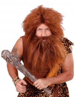Steinzeit Neandertaler Perücke mit Bart für Erwachsene braun