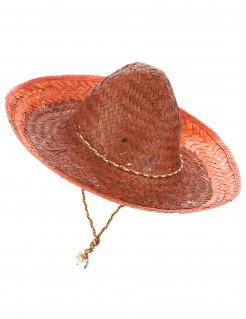 Mexikanischer Sombrero mit Hutschnur orange