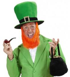 XXL Zylinder mit Bart St. Patricks Day für Erwachsene grün-rot