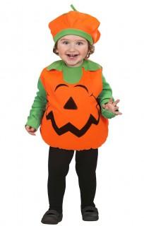 Kürbis-Babykostüm Halloweenkostüm orange-grün