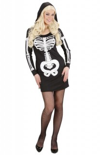 Süsses Skelett Kapuzen-Kleid Halloween Damenkostüm schwarz-weiss