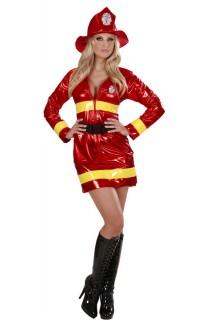 Sexy Feuerwehr Damen Kostüm glänzend rot-gelb