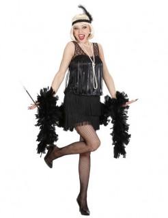 20er Jahre Charleston-Kleid Damenkostüm Flapper schwarz