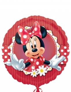 Minnie Maus Luftballon Aluminium-Ballon Disney-Lizenzartikel rot-weiss-schwarz 45cm