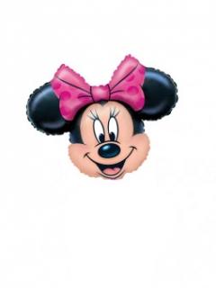 Minnie Maus Gesicht Luftballon Aluminium Disney-Lizenzartikel pink-beige-schwarz