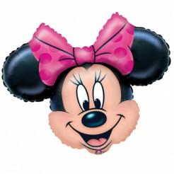 Großer Minnie Maus Gesicht Luftballon Aluminium Disney-Lizenzartikel pink-beige-schwarz 71x58cm