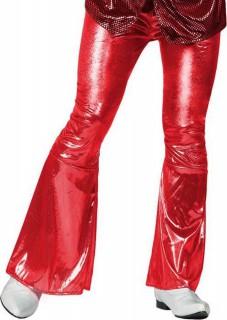 70er Jahre Disco Schlaghose glänzend für Herren rot
